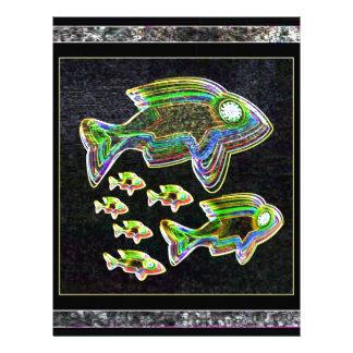 魚によって照らされる写実的で芸術的なデザインペット レターヘッド