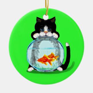 魚のオーナメントを持つタキシード猫 セラミックオーナメント