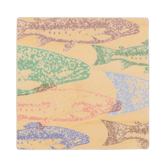 魚のスタンプのアートワーク木コースター ウッドコースター