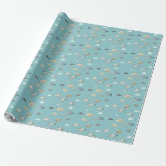 魚の学校-青い包装紙 ラッピングペーパー