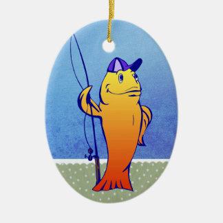 魚の漁師のクリスマスのオーナメント セラミックオーナメント