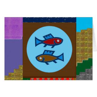 魚の漫画の子供ペット挨拶のギフトを切って下さい カード