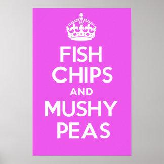 魚の破片および柔らかいエンドウ豆(ピンク) ポスター