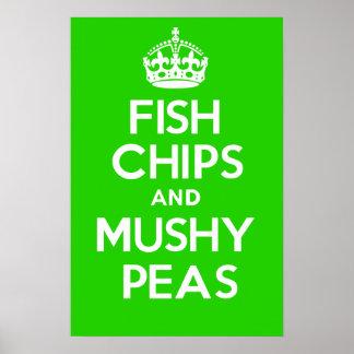 魚の破片および柔らかいエンドウ豆 ポスター