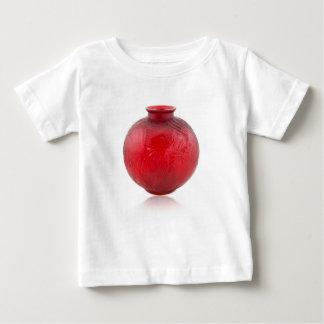 魚の設計の赤いアールデコのガラスつぼ ベビーTシャツ