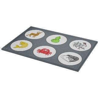 魚の車海老のカニのコレクションの灰色 カッティングボード