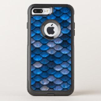 魚スケールパターンきらめくの青 オッターボックスコミューターiPhone 8 PLUS/7 PLUSケース