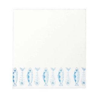 魚パターン-さまざまな色のメモ帳 ノートパッド