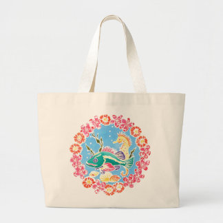 魚及びタツノオトシゴのバッグ ラージトートバッグ