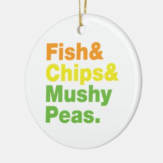 魚及び破片及び柔らかいエンドウ豆 セラミックオーナメント