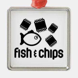 魚及び破片 メタルオーナメント