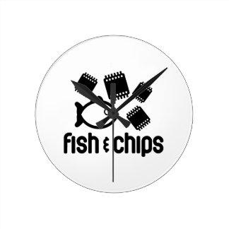 魚及び破片 ラウンド壁時計