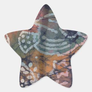 魚及び花柄の絞り染めのろうけつ染め 星シール