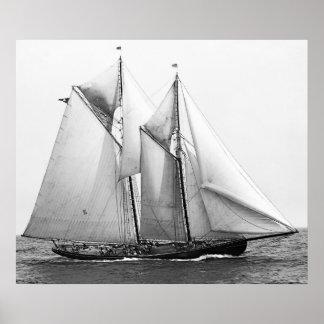 魚釣りのスクーナー船 ポスター