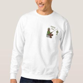 魚釣りのパパくま 刺繍入りスウェットシャツ