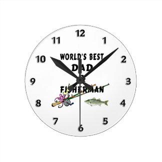 魚釣りのパパ ラウンド壁時計