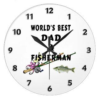 魚釣りのパパ ラージ壁時計