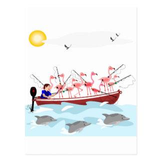 魚釣りのフラミンゴ ポストカード
