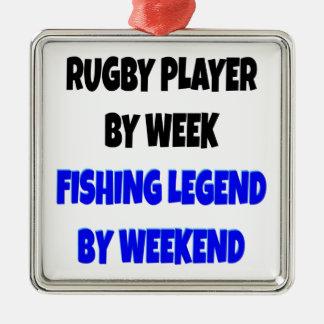 魚釣りの伝説のラグビープレーヤー メタルオーナメント