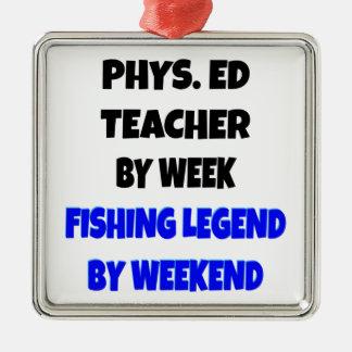 魚釣りの伝説の体育の先生 シルバーカラー正方形オーナメント