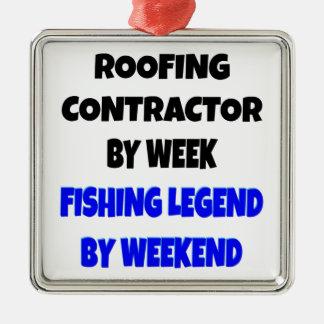 魚釣りの伝説の屋根ふき建築業者 シルバーカラー正方形オーナメント