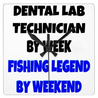 魚釣りの伝説の歯科実験技術者 スクエア壁時計