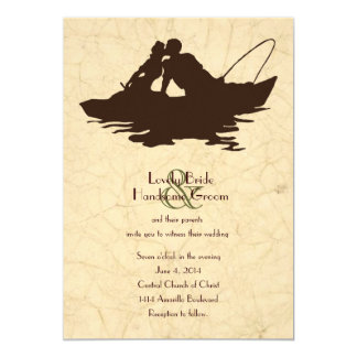 魚釣りの恋人のブラウンのボートの結婚式招待状 12.7 X 17.8 インビテーションカード