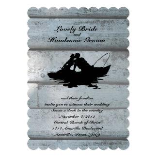 魚釣りの恋人のボートによってスカラップで仕上げられる結婚式招待状 12.7 X 17.8 インビテーションカード