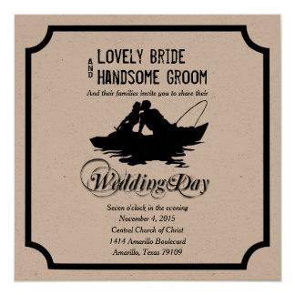魚釣りの恋人の素晴らしい捕獲物の結婚式招待状 13.3 スクエアインビテーションカード