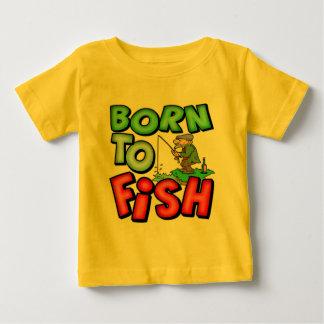 魚釣りのTシャツおよびギフトを採取するために生まれて下さい ベビーTシャツ