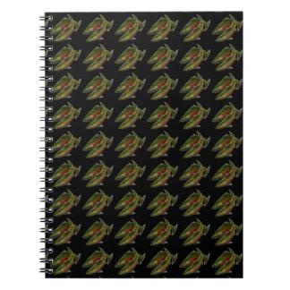 魚釣りジャーナルカスタムなサーモンピンクの魚の芸術のノート ノートブック