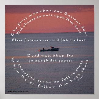 魚釣りポスターBasseのキリスト教のカトリック教の引用文 ポスター