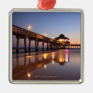 魚釣り桟橋、Fort Myersのビーチの日没、 メタルオーナメント