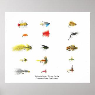 魚釣り、はえの魚釣りのニンフ、乾湿両方のFlを…飛ばして下さい ポスター