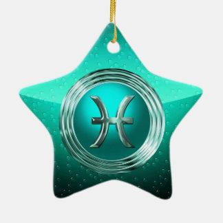魚類の占星術のな印 陶器製星型オーナメント