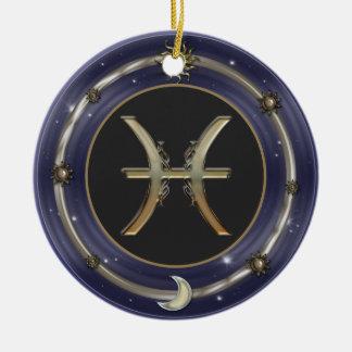 魚類の(占星術の)十二宮図の印 セラミックオーナメント