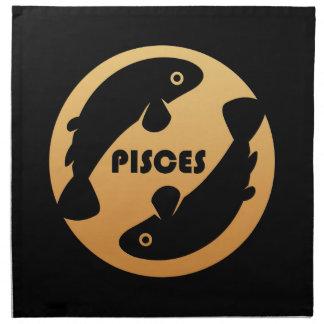 魚類の(占星術の)十二宮図の印 ナプキンクロス