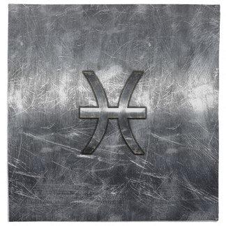魚類の(占星術の)十二宮図はグランジな鋼鉄スタイルの装飾に署名します ナプキンクロス