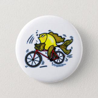 魚(バイク)のおもしろいなボタンを自転車に乗って下さい 5.7CM 丸型バッジ