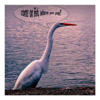 魚、ポスターを待っている鳥 ポスター