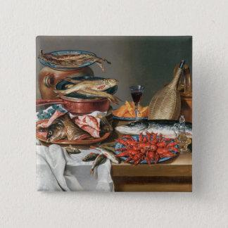 魚、マスおよびベビーのロブスター、1の静物画 5.1CM 正方形バッジ