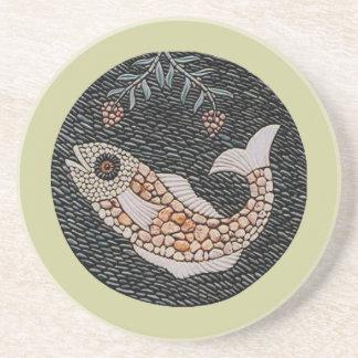 魚-モザイク コースター