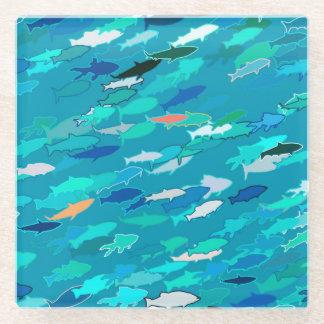 魚、青、白、ターコイズの学校 ガラスコースター
