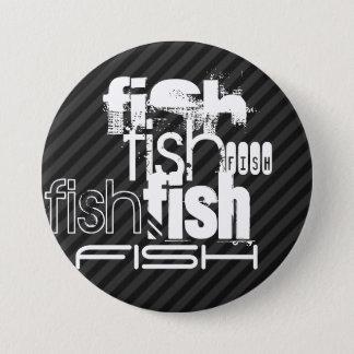 魚; 黒及びダークグレーは縞で飾ります 7.6CM 丸型バッジ