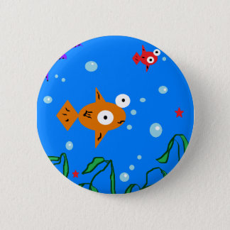 魚 5.7CM 丸型バッジ