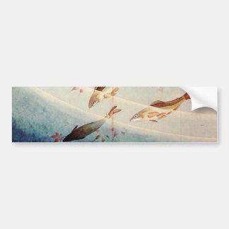 鮎、北斎Sweetfish、Hokusaiの芸術 バンパーステッカー