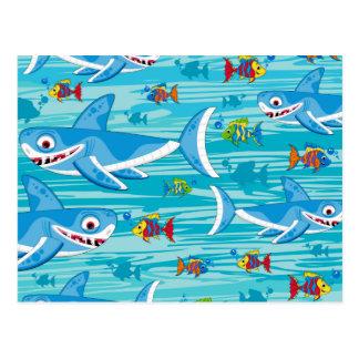 鮫および熱帯魚パターン ポストカード
