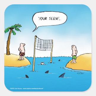 鮫のバレーボールのおもしろいな漫画 スクエアシール