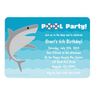 鮫のプールのパーティの招待状 カード