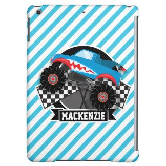 鮫のモンスタートラック; チェック模様の旗; 青い縞